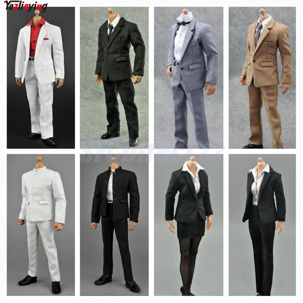 "1//6 Scale Men/'s Black Suit White Shirt Full Set For 12/"" Hot Toys Male Figure"