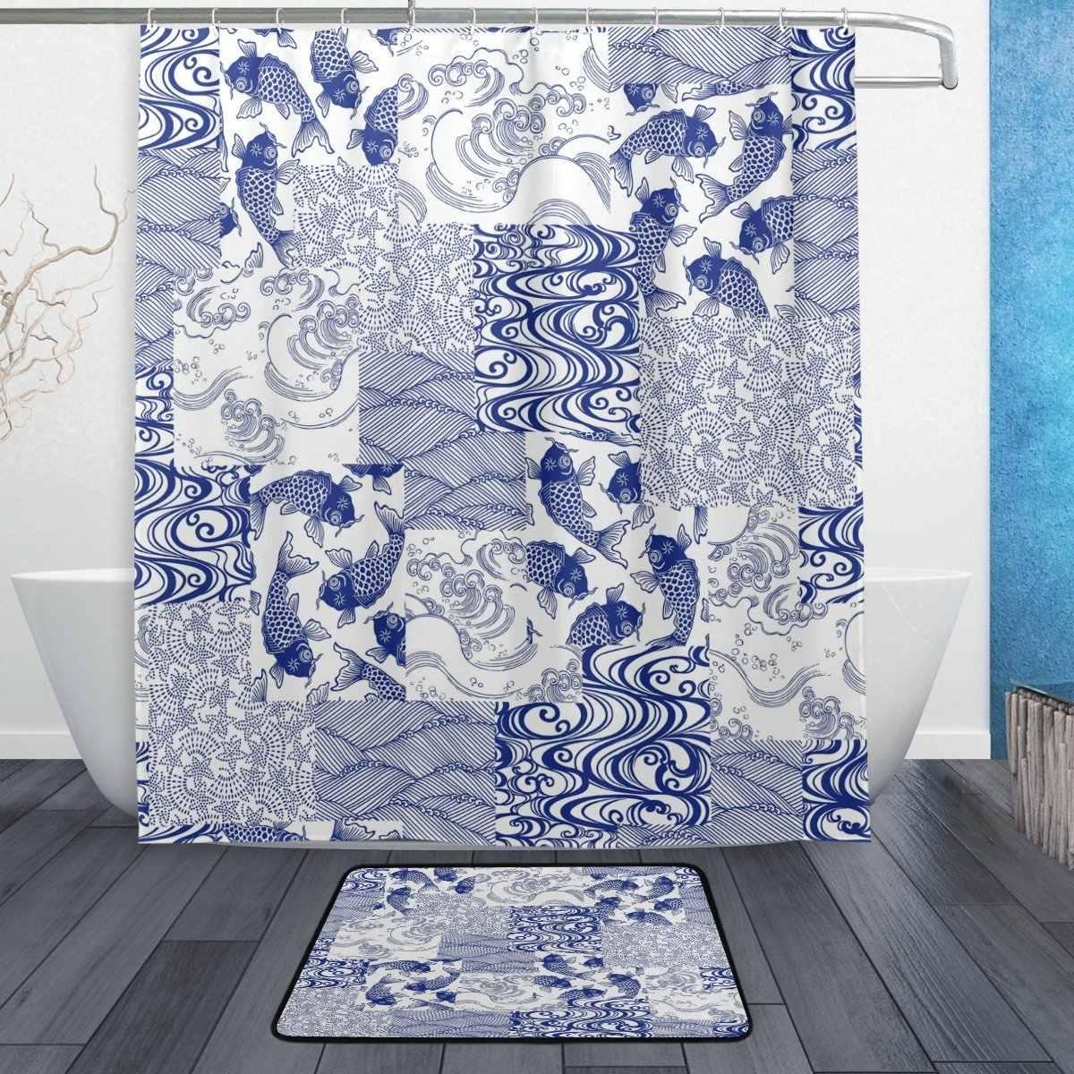 Cortina de ducha asiática japonesa y juego de esteras, cortina de baño de tela exótica étnica Koi