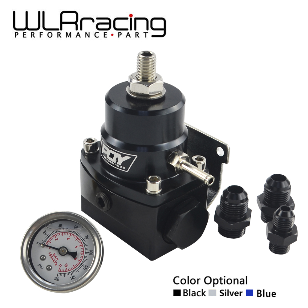 WLR RACING - AN8 high pressure fuel regulator w/ boost - 8AN 8/8/6 EFI Fuel Pressure Regulator with gauge WLR7855