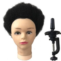 YONNA 100% Human hair Training Head Hairdressing Tight Afro Kinky Curly Practice Gloria Human Hair Mannequin For Black People