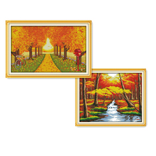 Everlasting love Autumn scenery Chinese cross stitch kits Ecological cotton stamped printed 11CT DIY  New Christmas decorations