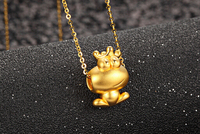 Hot Sale New 24K Yellow Gold Pendant 3D Craft Frog Prince Pendant 0 95g