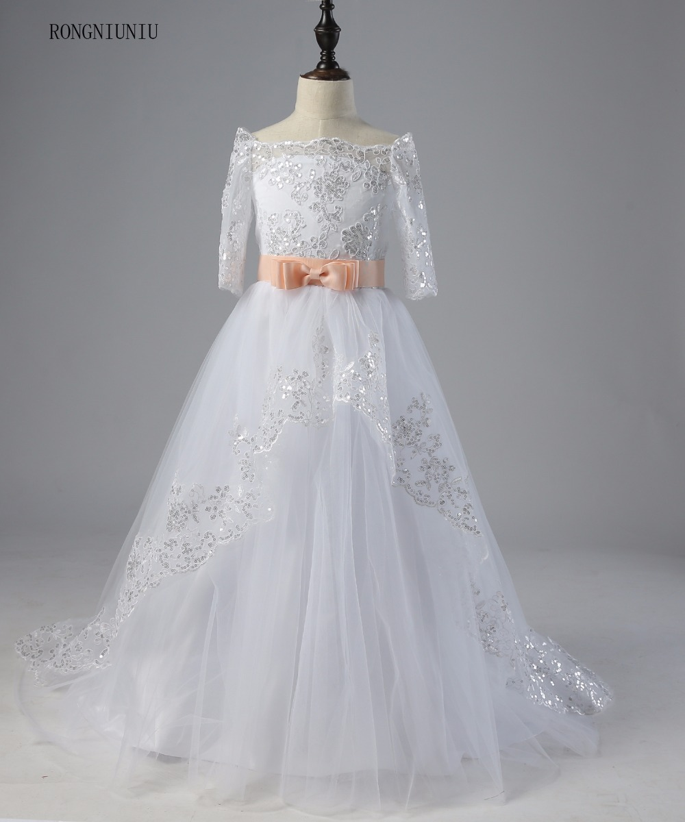 White Pageant Dresses Lace Half Sleeves With Belt Ball Gown Flower Girl Dresses 2019 First Communion Dresses Train