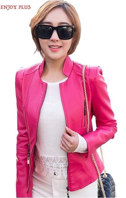 НАСЛАЖДАТЬСЯ ПЛЮС 8% ОТ груди 86-102 см новый 2016 искусственный черный красный синий пу короткая кожаная куртка женщин большой размер мотоцикл молния S-XXL