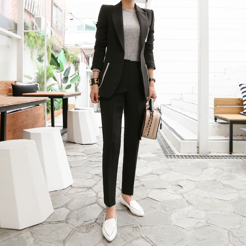 New 2019 Womens Two Piece Sets Tweed Two Piece Set Outfit Plus Size Korean Version of Temperament Slim Thin Solid Color Suit