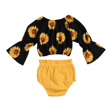 Summer Children Baby Girls Casual Set Long Sleeves Sunflowers Print Tops+Shorts Suits Costume Set цена 2017