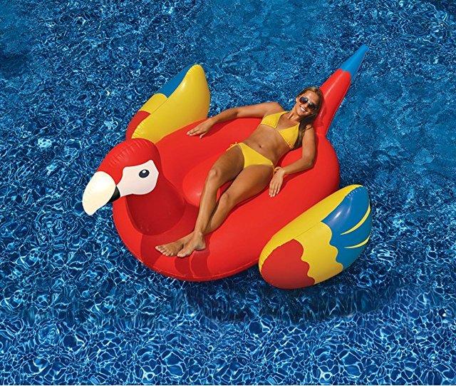 220 cm Giant Opblaasbare Papegaai Vrouwen Zwembad Float 2018 Nieuwste Water Lounger Strand Party Fun Speelgoed Zwemmen Ring Drijft boia piscina