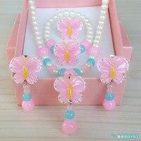 Enfants de première bijoux Princesse cadeau doux Papillon Fille perle collier bracelet anneau oreille clip enfant costume