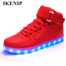 2018 Unisex Led Shoes Luminous running shoes Men sneakers high-top Light UP LED Shoes for Adults plus size 35-46 Super Homme(China)