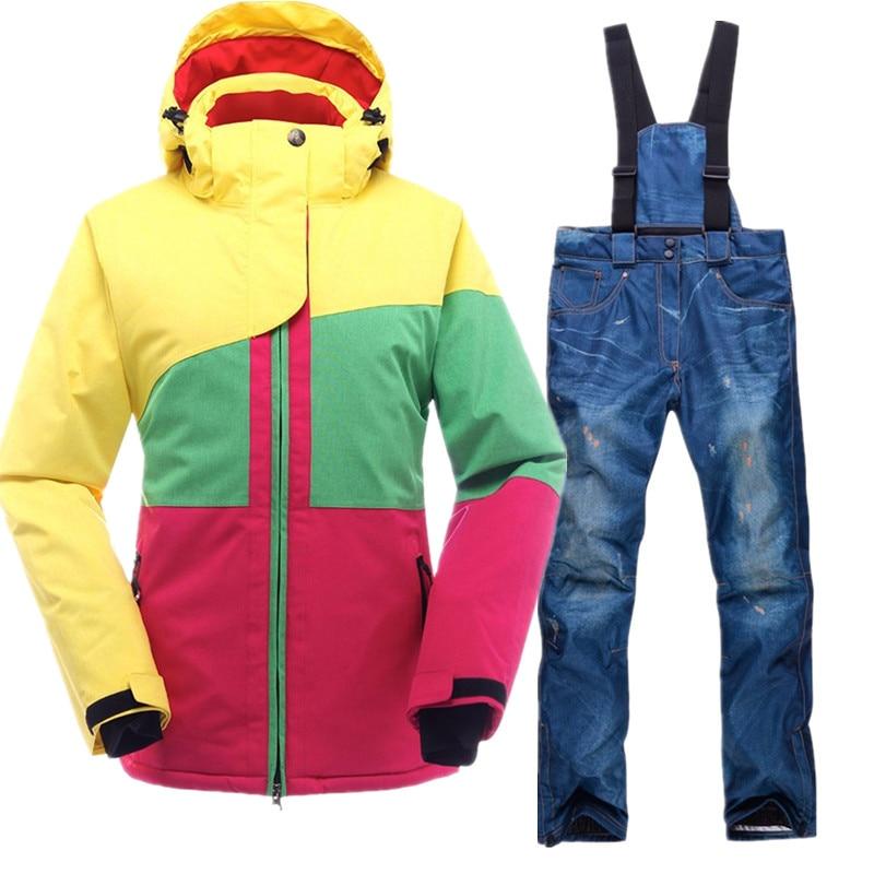 SAENSHING Ski Suit Female Mountain Skiing Suit Winter Waterproof Ski Clothing Women Snow Suits Thicken Warm Snowboarding Suits brand ski suit women winter warm