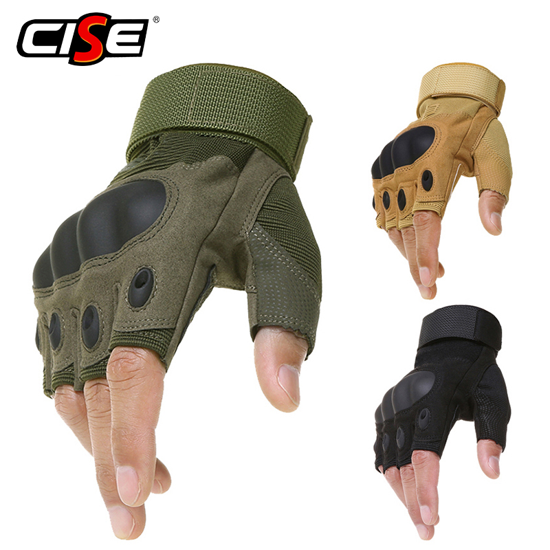 Outdoor Motorcycle Hard Knuckle Fingerless Gloves Motorbike Motocross Military Tactical Hunting Cycling Half Finger Protective oumily the second generation outdoor tactical half finger gloves gray black size xl pair