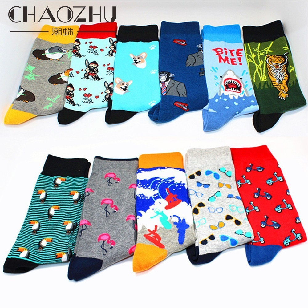 CHAOZHU Boys' Socks Creative Fashion Long Combed Cotton Cartoon Guinea Pig Cork Flamingo Orangutan Shark Tiger Happy Socks Gifts