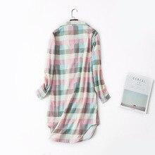 Long Sleeve Plus Size Female Soft Loose Sleepshirt Fashion Cotton Plaid Women Nightgown