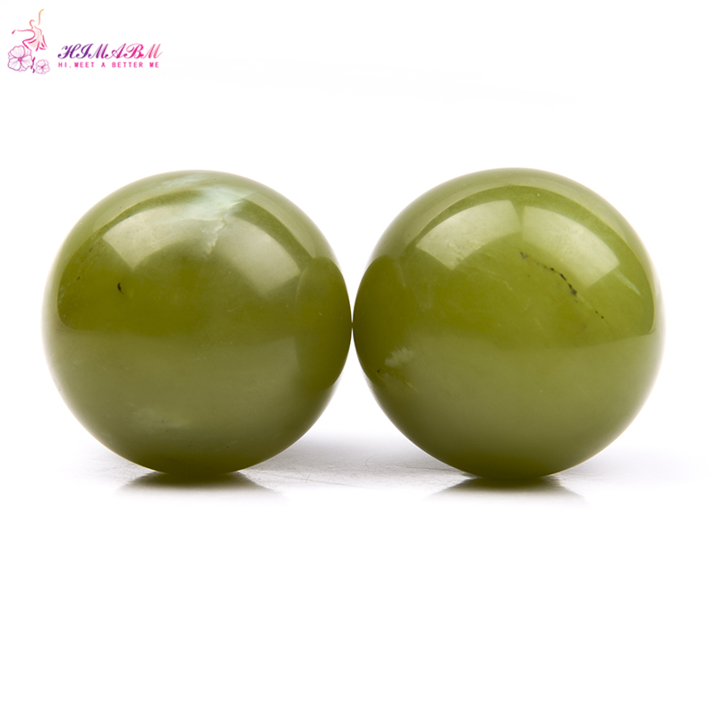 HIMABM 45mm Natural jade Hand Massage Ball Natural Healthy Care Massaging Stone Healing Sphere Exercise Ball SPA Tools Fitnes
