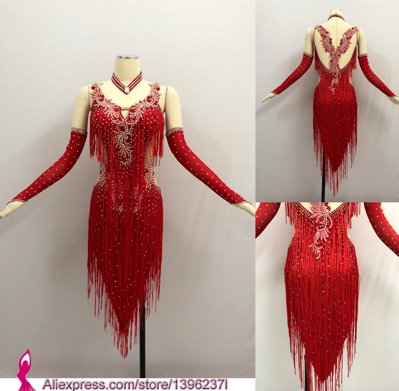 Red Latin Competition Dance Skirt Women 2019 New Custom Made Sexy Sumba Rumba Tassel Dancing Wear Adult Standard Latin Dress
