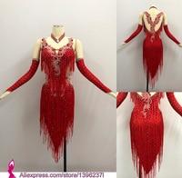 Red Latin Competition Dance Skirt Women 2019 New Custom Made Sexy Sumba Rumba Tassel Dancing Wear Adult Standard Latin Dress