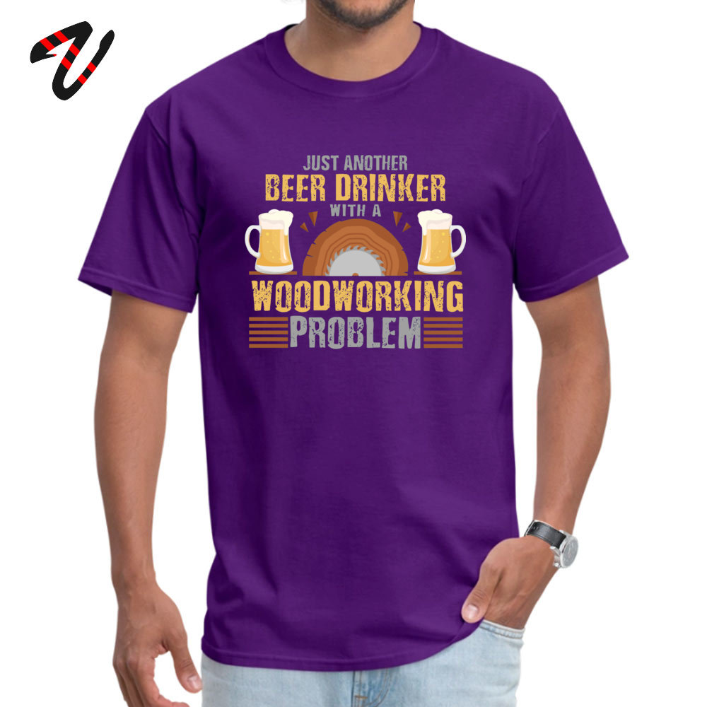 Normal 100% Cotton Camisa Tops & Tees Dominant Short Sleeve Male T-Shirt Casual VALENTINE DAY Clothing Shirt Round Neck Just Another Beer Drinker with a Woodworking Problem -15957 purple