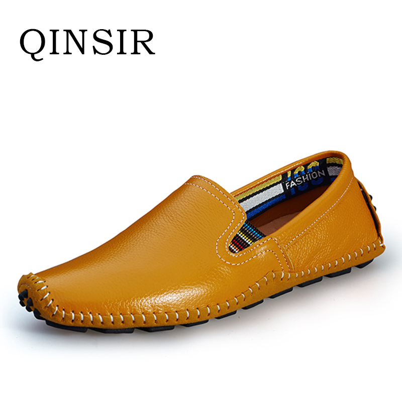 High Quality Mens Slip On Casual Shoes Autumn Male Men Loafers Breathable Soft Top Layer Genuine Leather Driving Flats Hot Sale big size 39 48 men flats summer genuine leather loafers breathable driving shoes moccasines slip on male casual shoes xk032808