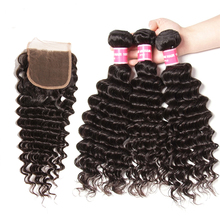 hot deal buy klaiyi hair brazilian deep wave bundles with closure free part human hair bundles with closure 4pcs remy hair weaves