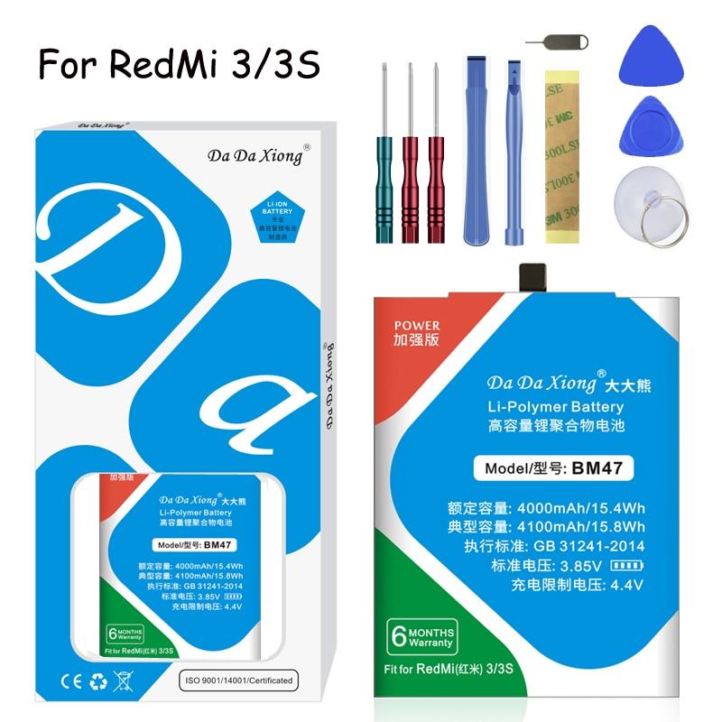 Original Da Da Xiong Lithium Polymer Battery BM47  For Xiaomi Redmi 3 3S 4X 3X  4100mAh Mobile Phone Replacement Battery Original Da Da Xiong Lithium Polymer Battery BM47  For Xiaomi Redmi 3 3S 4X 3X  4100mAh Mobile Phone Replacement Battery