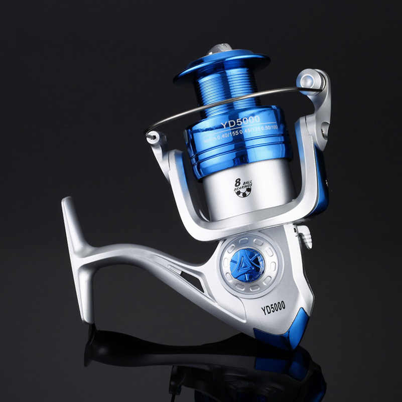 2 colores 1000-6000 8BB Ratio 5,2: 1 carrete de carpa hilado carrete de pesca tapa de línea Tackle Spin Carp Metal drive movimiento del núcleo