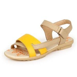 Image 2 - BEYARNE נשים מזדמן עור אמיתי סנדלי העקב שטוח קיץ נעלי אישה תיקון חוף נעלי גדול גודל אמא נעליים
