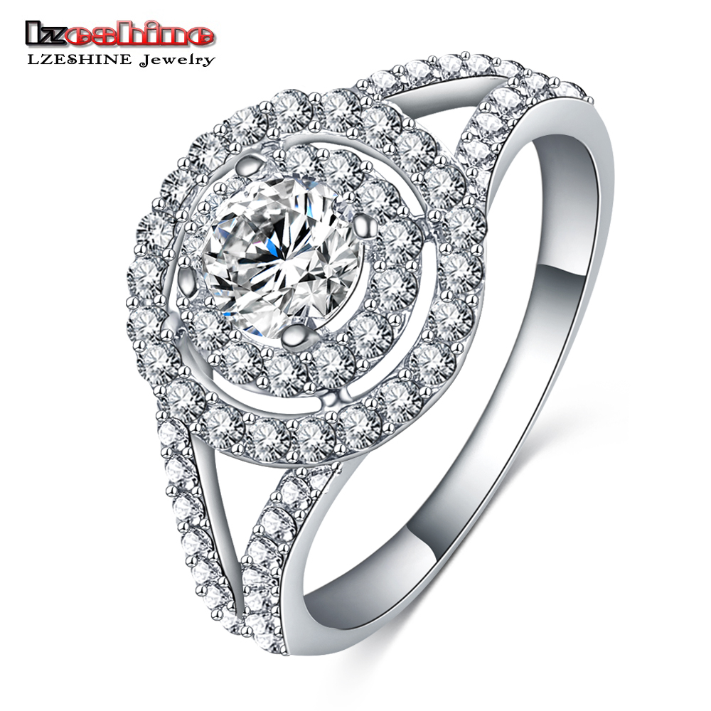 LZESHINE Brand Vintage Engagement Ring Silver Color AAA Crystal