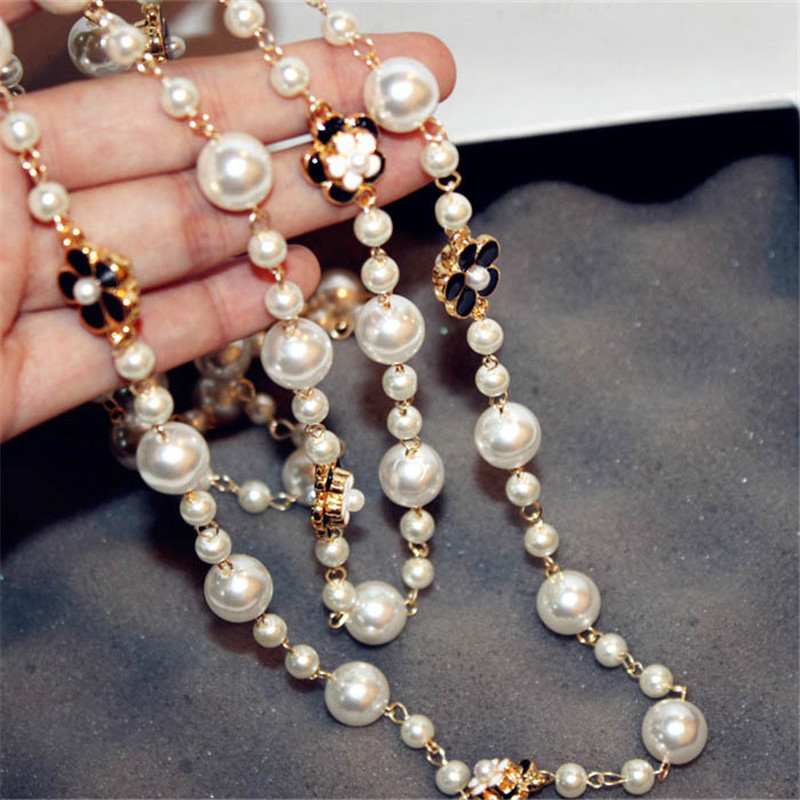 New Fashion Women Pearl Chain Long Sweater Pearl Necklace&pendant golden Luxury flower Pendant Necklace for women цена