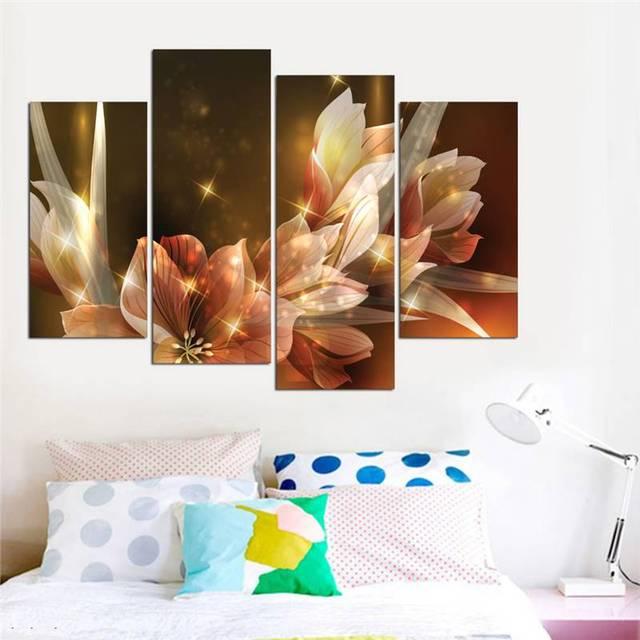 puesta de sol de flores cuadros modulares modernos decoracin del hogar sala de estar o dormitorio