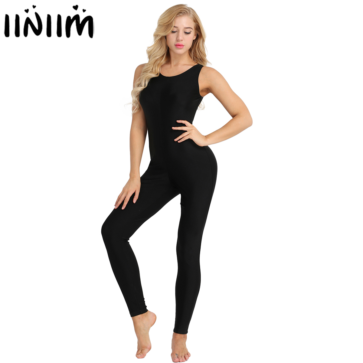 Womens Adult Bodycon Sexy Clubwear Footless Stretchy Solid Tank Unitard Dance Practice Leotard Bodysuit Playsuits Costumes