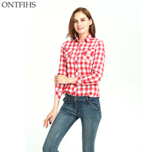 Фотография ONTFIHS Shirts Fashion Women Blouses and tops Long Sleeve Plaid Shirts Women Tops Cotton Casual Shirt with pocket