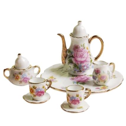 8pcs Dollhouse Miniature Dining Ware Porcelain Tea Set Dish Cup Plate -Pink Rose