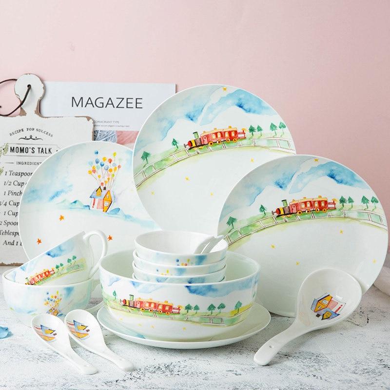 4.25 or 8 inch Ceramic Dinner Set Dish Porcelain Dessert Plate Lighthouse Pattern Wholesale Dinnerware Cake Plate Snack Plates