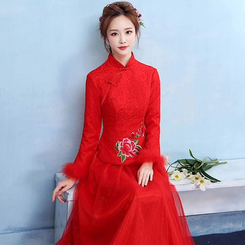 Chinese wedding dress 2019 bridal gown wedding outfits mandarin collar red wedding dresses bride dress 2019 unique TS038