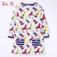 Striped Children Clothing Spring Autumn Clothes Cute Kids Girls Baby Princess Lolita Animal Horses Dresses Full