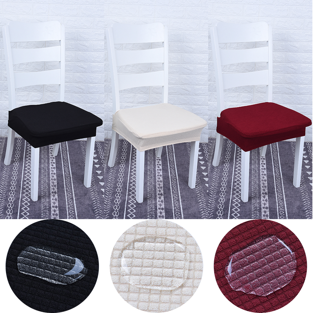 Waterproof Solid Color Dining Room Chair Protector Cover Elastic Spandex Polyester Seat Durable Washable Case