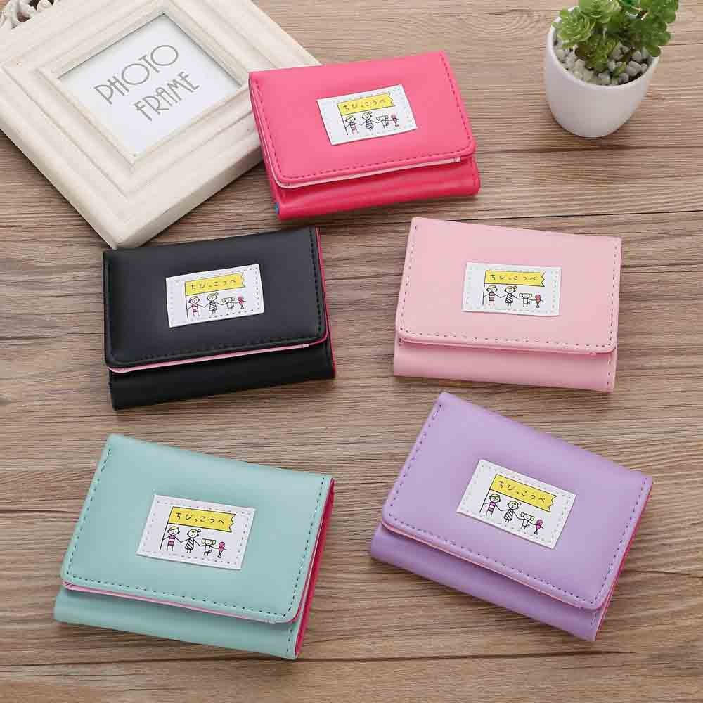 Fashion Women's Wallet Lovely Cartoon Macaron Leather Female Small Coin Purse Hasp Zipper Kid Purse Card Holder For Girls(25