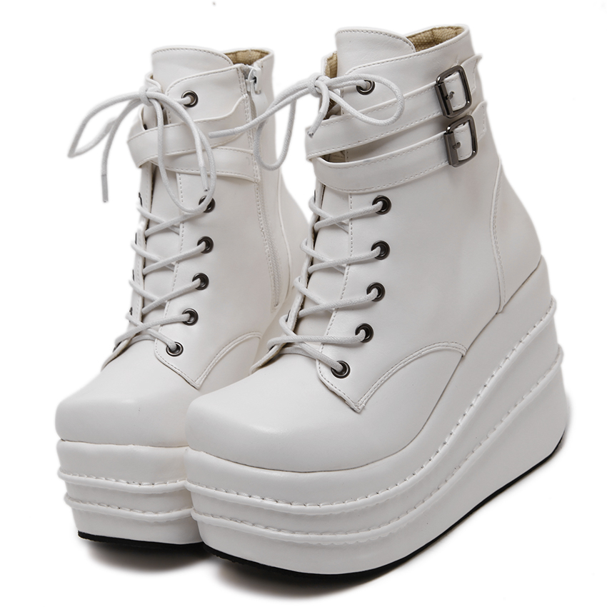 Size 35-42 Botas Mujer Plataforma 2018 Winter Womens Boots Punk Style White Wedge High Heel Boots Lace Up Wedge Platform Boots bamboo womens driven 77 casual wedge