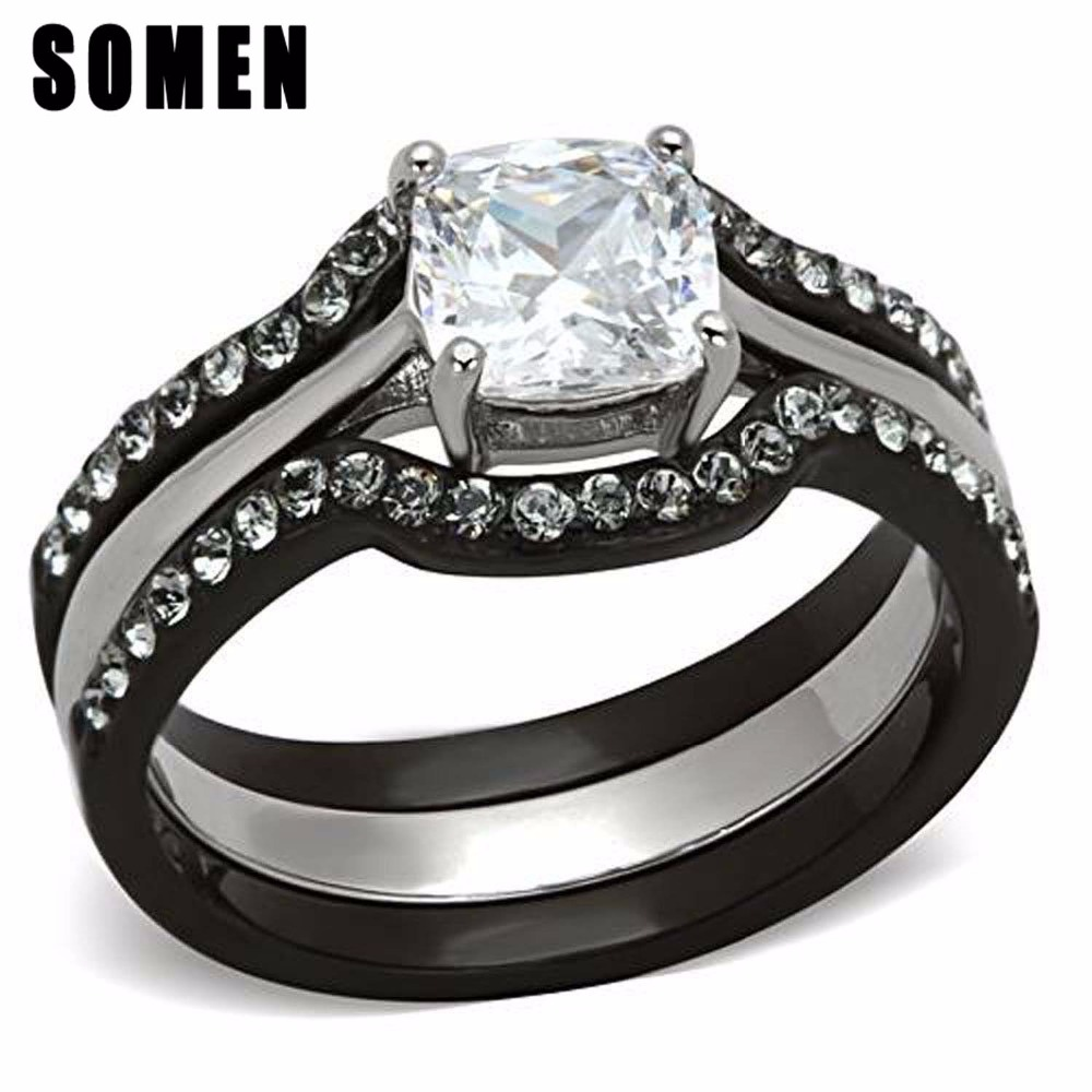 כסף נירוסטה נשים סט טבעת מעוקב Zirconia תכשיטי אופנה טבעת נצח טבעות נישואים אירוסין הבטחת נשי