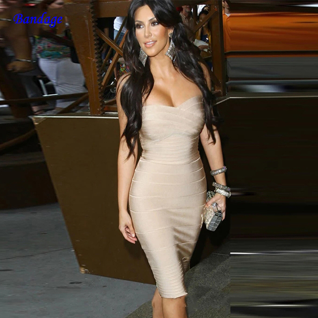 Us 27 38 26 Off Club Bandage Dress For Women Kim Kardashian 2019 New Arrivals Sexy Strapless Bodycon Prom Celebrity Party Dress Red White Beige In
