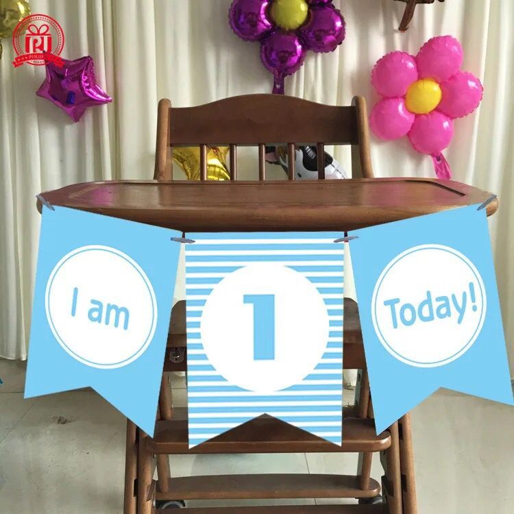 Boy Girl First Birthday Cardboard blue pink High Chair Flag Banner Baby One Year Old Birthday Hanging Decoration