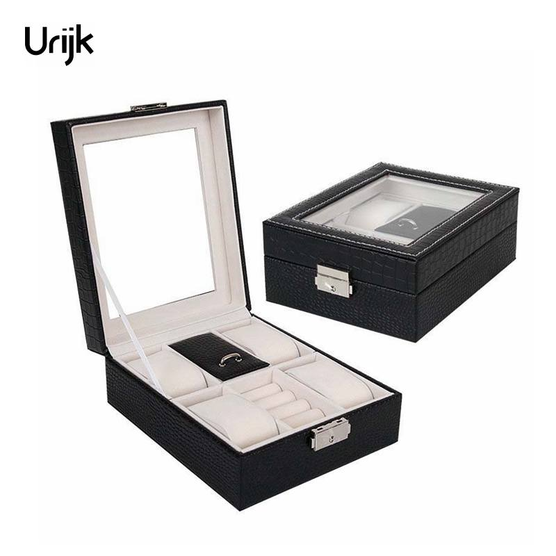 Urijk Leather Watch Jewelry Organizer for Cosmetics Watches Storage Boxes Caseket Travel Organizer Jewelry Box Storage Organizer