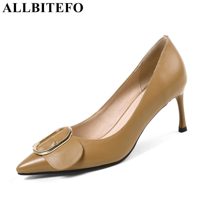 ALLBITEFO fashion sexy genuine leather pointed toe high heels women wedding shoes high heel shoes women pumps girls shoes allbitefo fashion sexy thin heels pointed toe women pumps full genuine leather platform office ladies shoes high heel shoes
