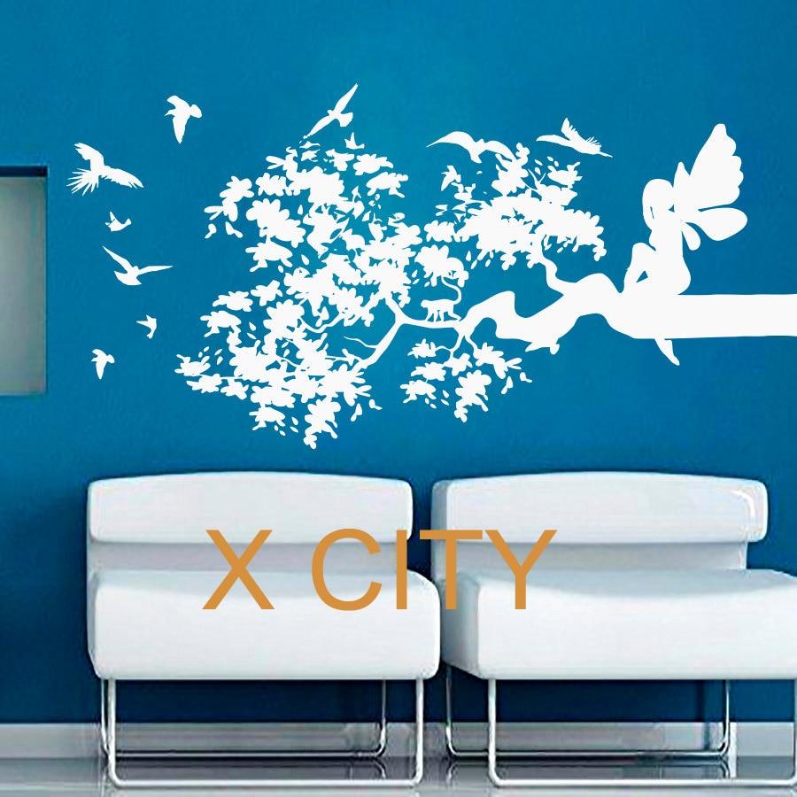 Tree Branch Fairy Birds WALL ART STICKER VINYL DIE CUT TRANSFER DECAL HOME NURSERY LIVING ROOM DECOR WINDOW DOOR STENCIL MURAL