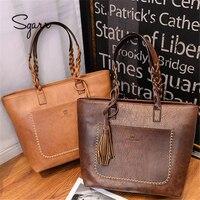 SGARR Soft Leather Large Handbag Vintage For Women Tassel Woman Big Brown Bag Free Shipping Newest