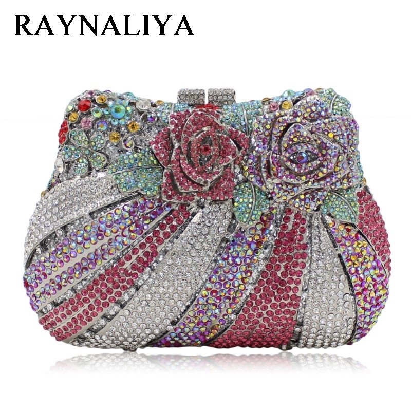 Flower Women Rose Flower Luxury Crystal Clutch Handbag Bling Rhinestone Wedding Party Clutches Evening Bag Gold ZH-A0280 women luxury rhinestone clutch evening handbag ladies crystal wedding purses dinner party bag bird flower purse zh a0296