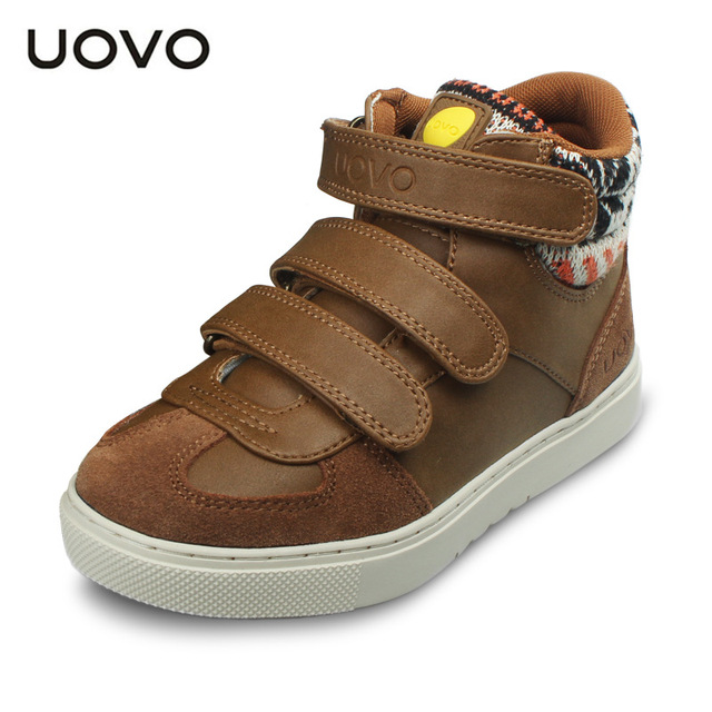 Big Girls Boys Spring Winter Shoes New Uovo Brand Kids Boots Sports Sneakers Bottes De Neige Flat Heel Soft Shoes 30-38 Zapatos