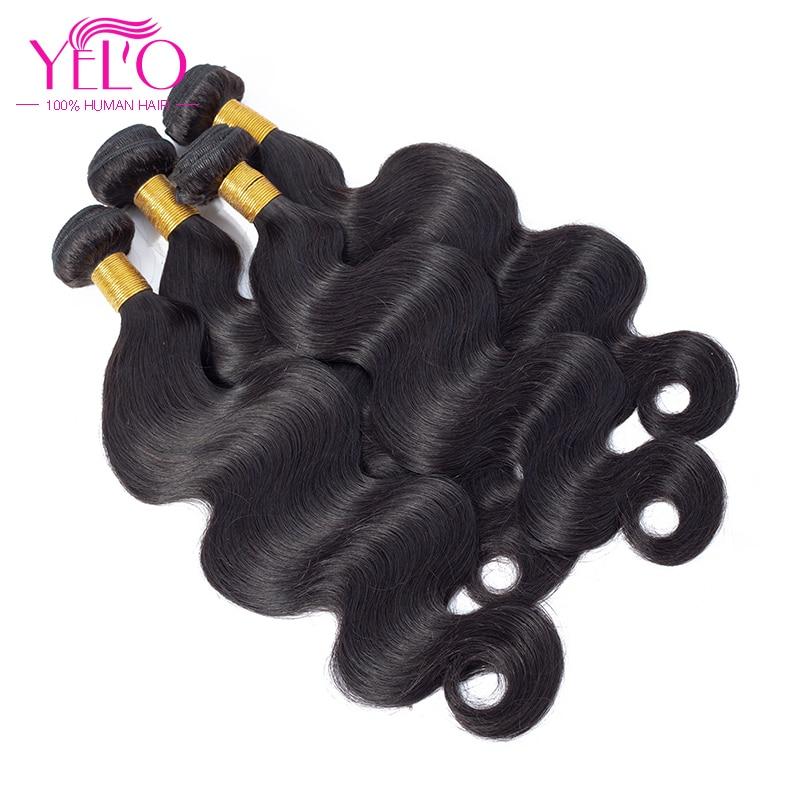 Yelo Brazilian Body Wave 4 paquetes ofertas 100% extensiones de cabello humano paquetes de armadura de cabello brasileño 8 30 pulgadas Can teñido no Remy-in Paquetes 3 / 4 from Extensiones de cabello y pelucas on AliExpress - 11.11_Double 11_Singles' Day 1