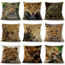 2019 New 3D Cushion Cover African Steppe Animals Pillow Cheetah Series Linen Case For Sofa Cojin bedding set