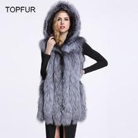TOPFUR Fox Fur Vests With Hood 2019 Winter Women's Natural Real Mex Waistcoats Genuine Fur Gilets Echte Pelzweste 80cm V2